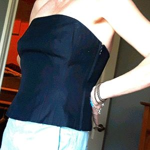 Ann Taylor Black Raw Silk Corset Top